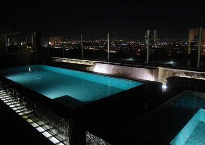 All glass tile pool and spa with incredible views of Los Angeles