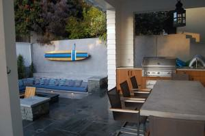 Outdoor kitchen, lighted sitting area and fire pit