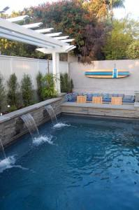Pool with triple water fountain