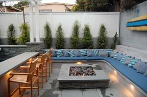Capps lighted outdoor sitting area and fire pit
