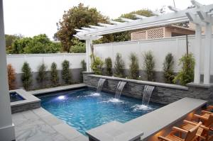 Capps pool with triple water fountain