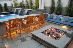 Capps pool with triple waterfall and fire pit