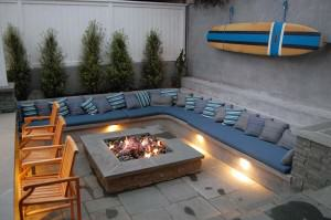 Lighted outdoor sitting area and fire pit