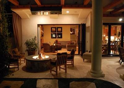 Sitting area off indoor living room