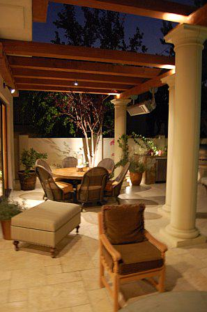 Patio Cover, concrete columns, olympic stone