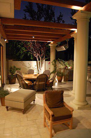 Patio Cover, concrete columns, olympic stone