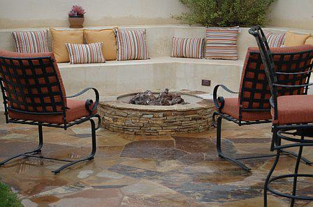 Davis Home – Built in benches, ledge stone fire pit, Cameron flagstone