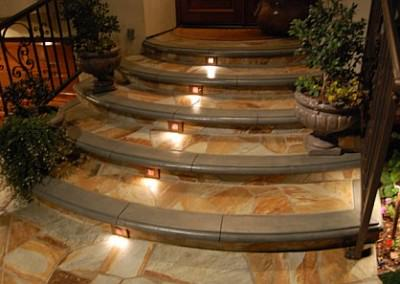 Entryway steps with low voltage lighting
