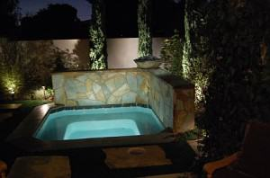 Spa with turning leaf flagstone and concrete coping
