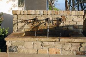 Rustic front entry water feature