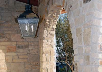 Stone facing in entryway
