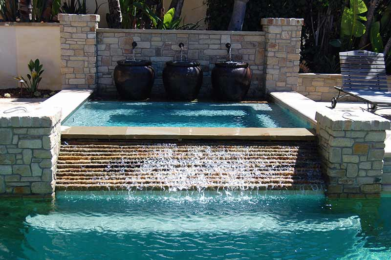 pool and spa with cascade waterfalls outdoor hardscapes. Black Bedroom Furniture Sets. Home Design Ideas