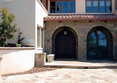 Driveway and arched Stone entryway