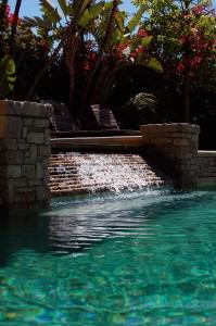 Waterfall from spa to pool