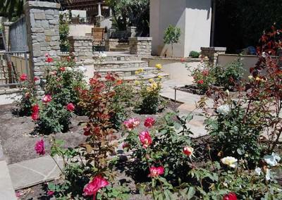 Stone Columns Bordering Rose Garden