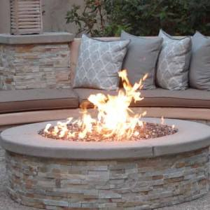 Fire pit in outdoor living room