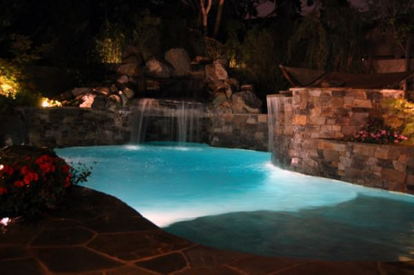 The pool, waterfall and grotto are spectacular at night!