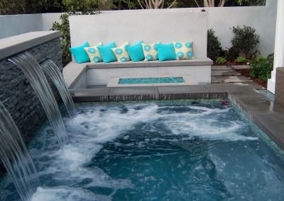Orland Residence - Outdoor living room, spa with waterfall, fire pit