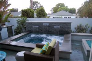 Orland Residence – Outdoor living room and spa with waterfall