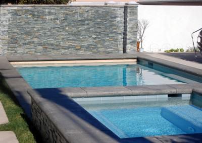 Swimming pool and raised spa