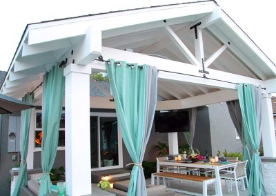 Enjoy early morning breakfast pool side underneath your patio cover
