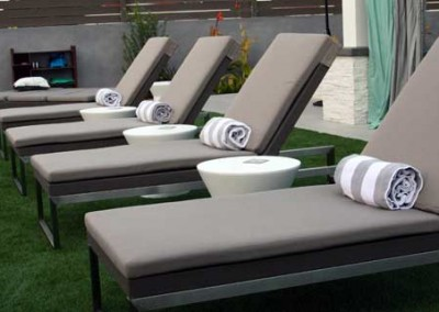Luxurious outdoor furniture completes the spa vibe